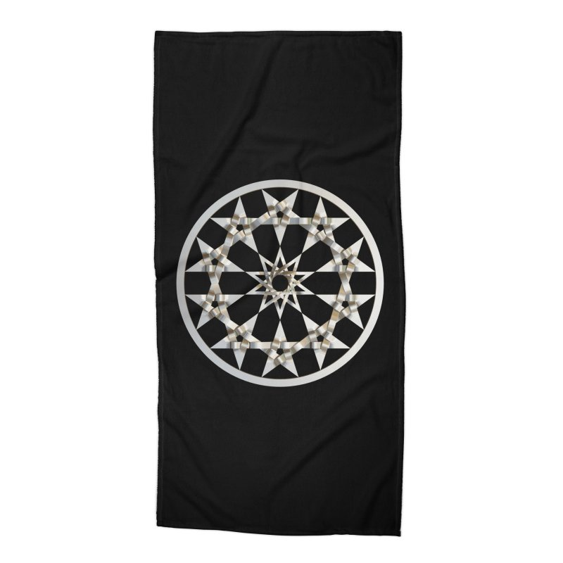 12 Woven 5 Pointed Stars Silver Accessories Beach Towel by diamondheart's Artist Shop