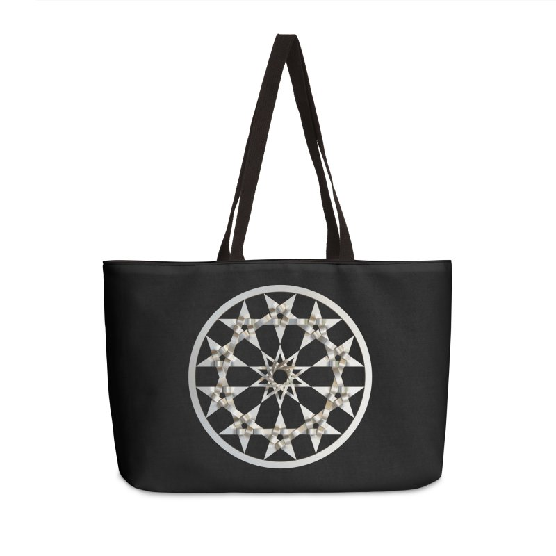 12 Woven 5 Pointed Stars Silver Accessories Weekender Bag Bag by diamondheart's Artist Shop
