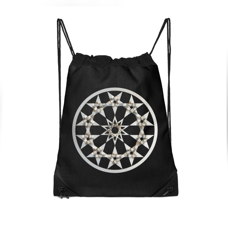 12 Woven 5 Pointed Stars Silver Accessories Drawstring Bag Bag by diamondheart's Artist Shop