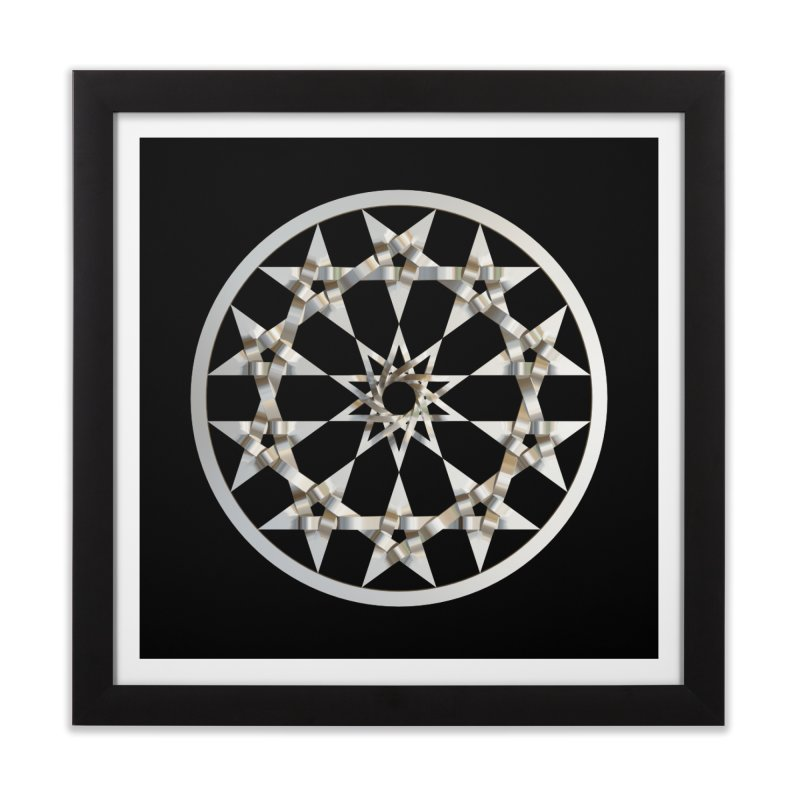 12 Woven 5 Pointed Stars Silver Home Framed Fine Art Print by diamondheart's Artist Shop