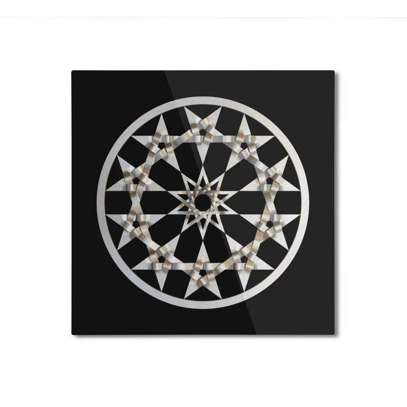 12 Woven 5 Pointed Stars Silver Home Mounted Aluminum Print by diamondheart's Artist Shop