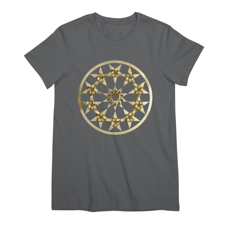 12 Woven 5 Pointed Stars Gold Women's Premium T-Shirt by diamondheart's Artist Shop