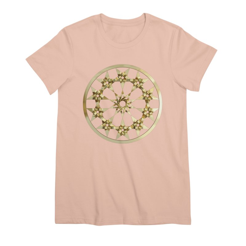 12 Woven 5 Pointed Stars Gold Women's Premium T-Shirt by diamondheart's Artist Shop
