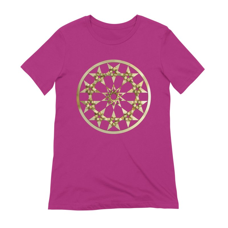12 Woven 5 Pointed Stars Gold Women's Extra Soft T-Shirt by diamondheart's Artist Shop