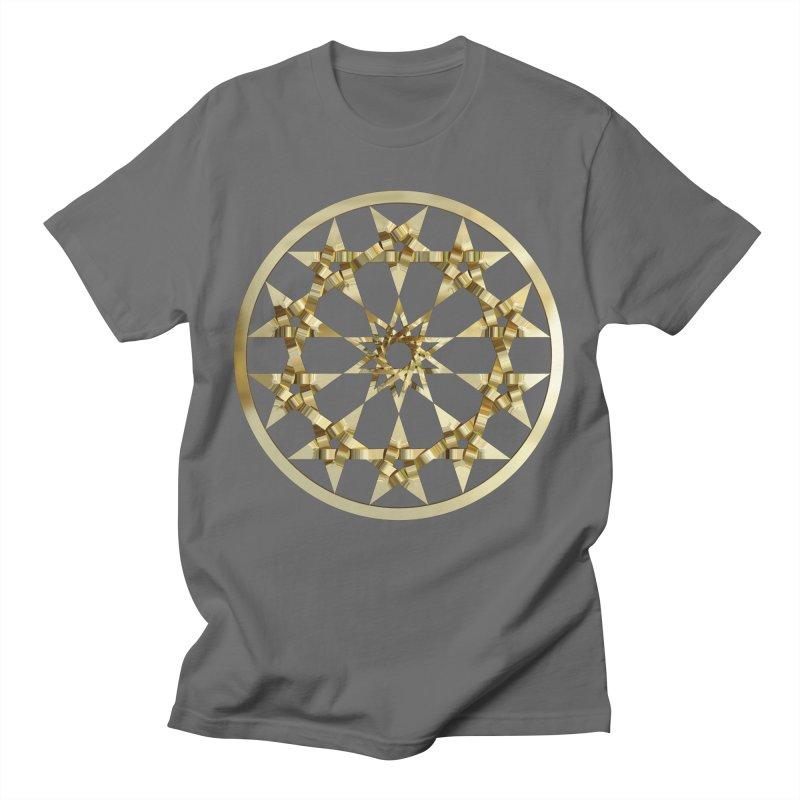 12 Woven 5 Pointed Stars Gold Men's T-Shirt by diamondheart's Artist Shop