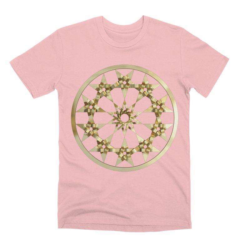12 Woven 5 Pointed Stars Gold Men's Premium T-Shirt by diamondheart's Artist Shop