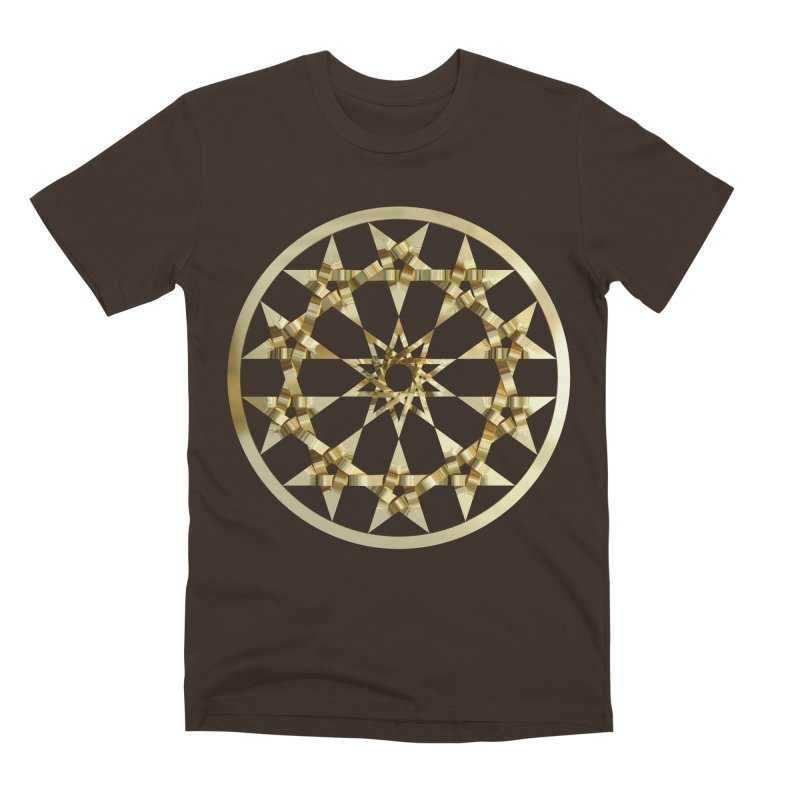 12 Woven 5 Pointed Stars Gold Men's Premium T-Shirt by diamondheart's Artist Shop