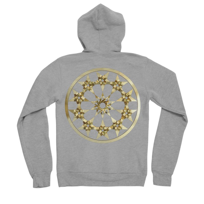 12 Woven 5 Pointed Stars Gold Women's Sponge Fleece Zip-Up Hoody by diamondheart's Artist Shop