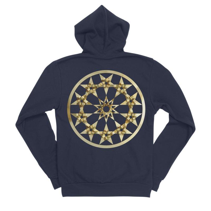 12 Woven 5 Pointed Stars Gold Women's Sponge Fleece Zip-Up Hoody by diamondheart's Artist Shop