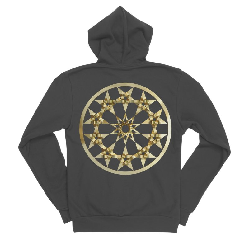 12 Woven 5 Pointed Stars Gold Men's Sponge Fleece Zip-Up Hoody by diamondheart's Artist Shop