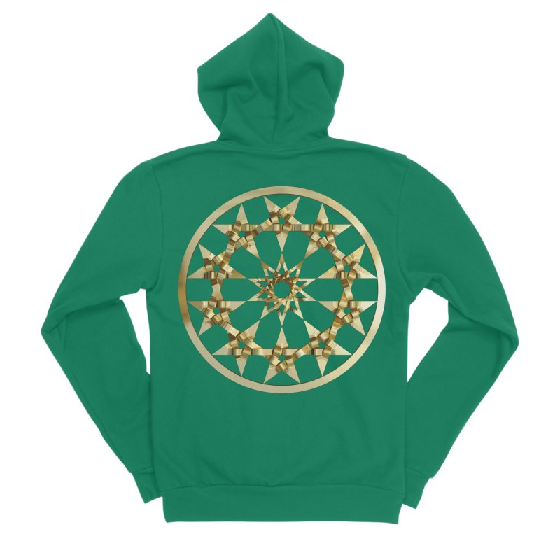 12 Woven 5 Pointed Stars Gold Men's Sponge Fleece Zip-Up Hoody by diamondheart's Artist Shop