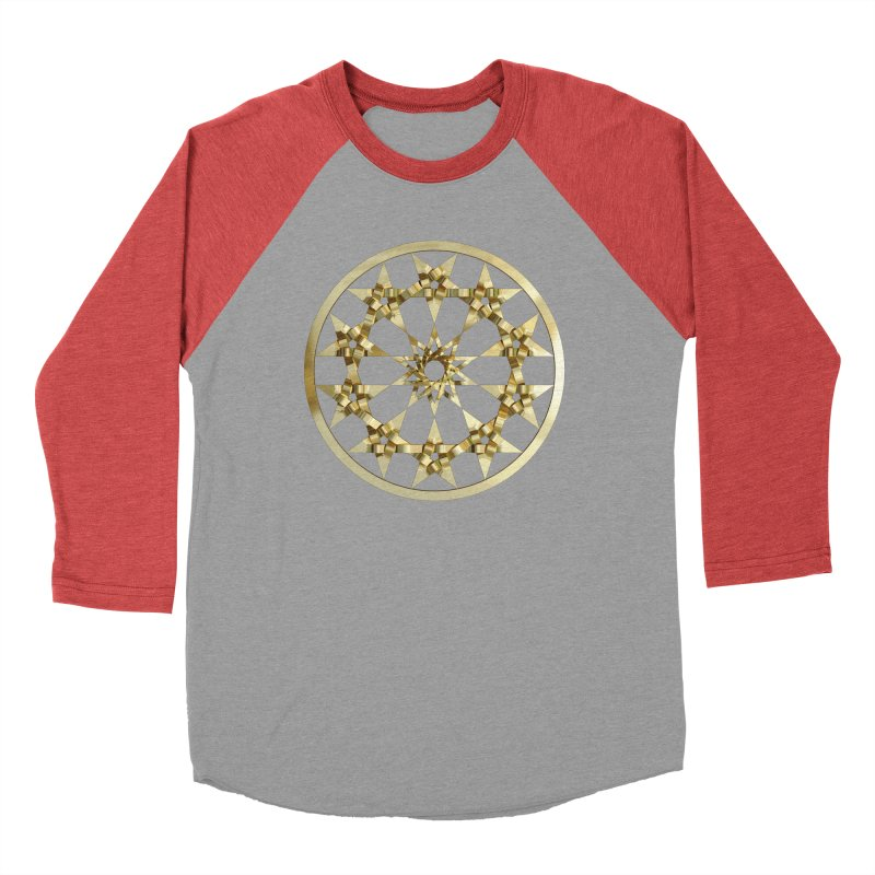 12 Woven 5 Pointed Stars Gold Men's Baseball Triblend Longsleeve T-Shirt by diamondheart's Artist Shop