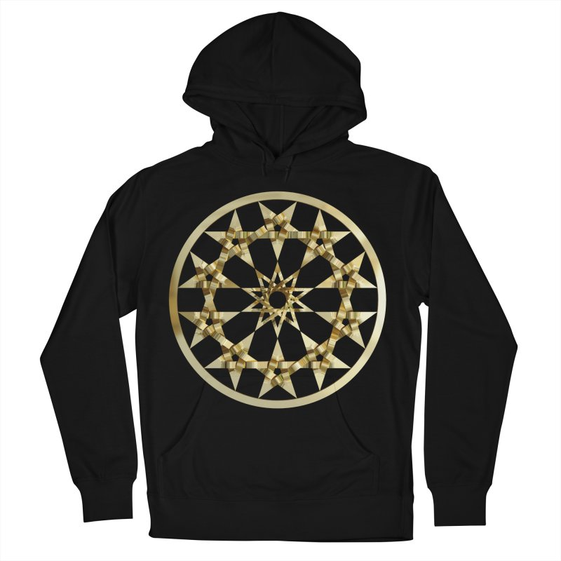 12 Woven 5 Pointed Stars Gold Women's French Terry Pullover Hoody by diamondheart's Artist Shop