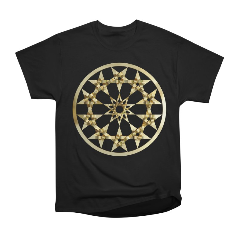 12 Woven 5 Pointed Stars Gold Men's Heavyweight T-Shirt by diamondheart's Artist Shop