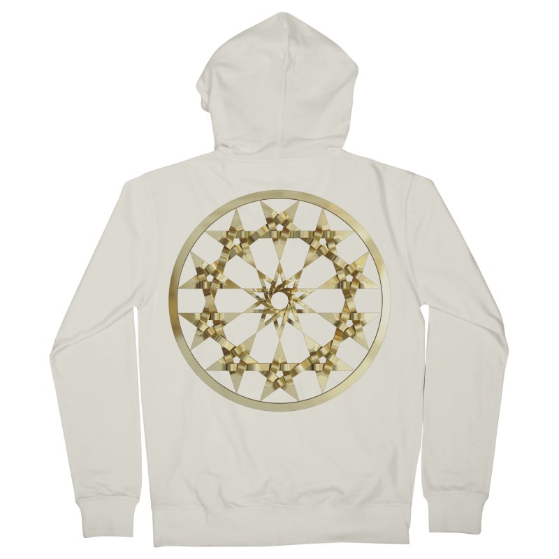 12 Woven 5 Pointed Stars Gold Women's French Terry Zip-Up Hoody by diamondheart's Artist Shop