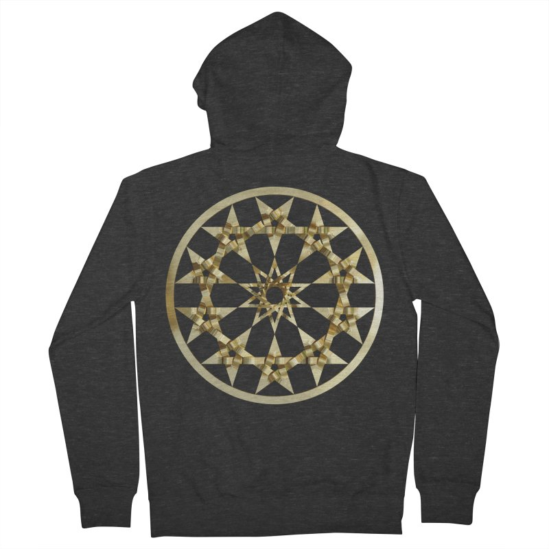 12 Woven 5 Pointed Stars Gold Men's French Terry Zip-Up Hoody by diamondheart's Artist Shop