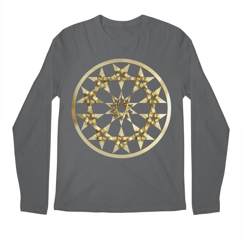 12 Woven 5 Pointed Stars Gold Men's Regular Longsleeve T-Shirt by diamondheart's Artist Shop
