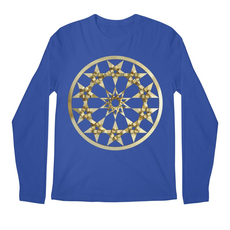12 Woven 5 Pointed Stars Gold Men's Regular Longsleeve T-Shirt by diamondheart's Artist Shop