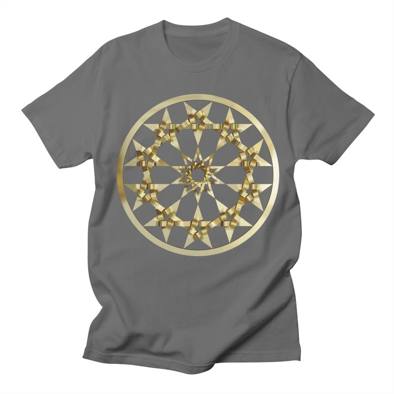 12 Woven 5 Pointed Stars Gold Men's Regular T-Shirt by diamondheart's Artist Shop