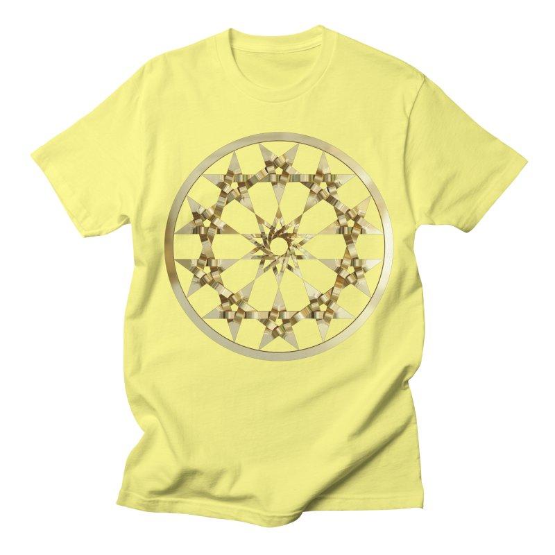 12 Woven 5 Pointed Stars Gold Men's Regular T-Shirt by diamondheart's Artist Shop