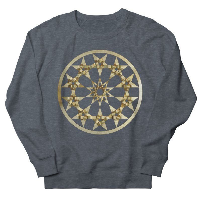 12 Woven 5 Pointed Stars Gold Women's French Terry Sweatshirt by diamondheart's Artist Shop
