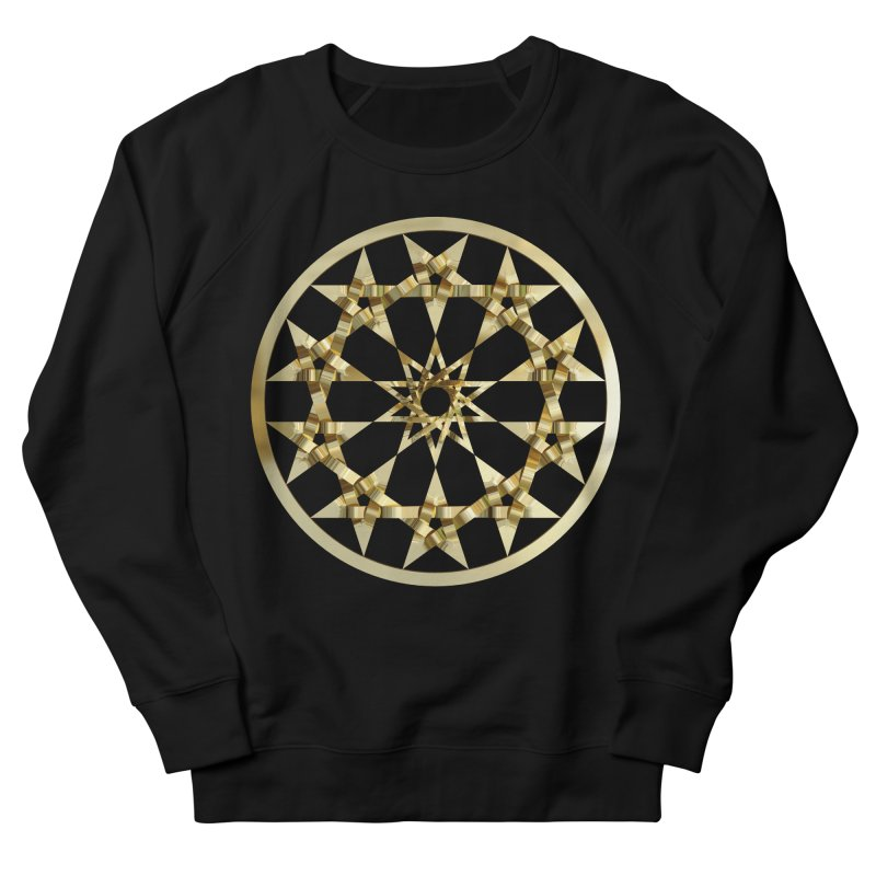 12 Woven 5 Pointed Stars Gold Men's French Terry Sweatshirt by diamondheart's Artist Shop