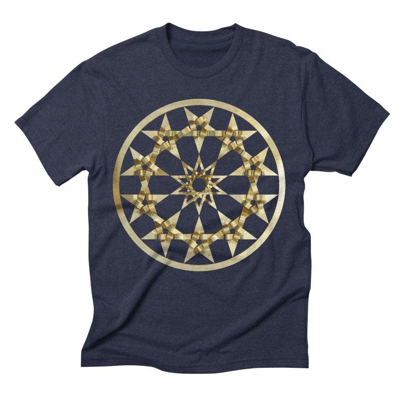12 Woven 5 Pointed Stars Gold Men's Triblend T-Shirt by diamondheart's Artist Shop