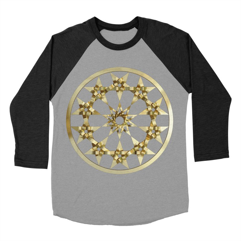 12 Woven 5 Pointed Stars Gold Women's Baseball Triblend Longsleeve T-Shirt by diamondheart's Artist Shop