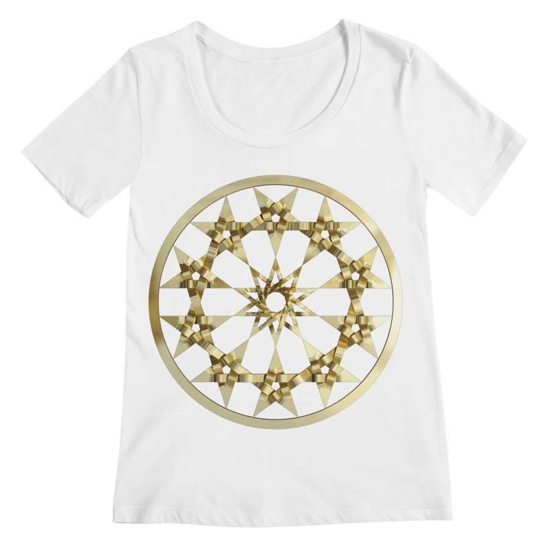 12 Woven 5 Pointed Stars Gold Women's Regular Scoop Neck by diamondheart's Artist Shop