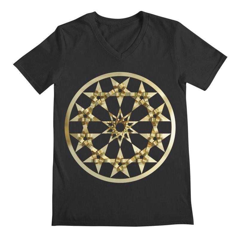 12 Woven 5 Pointed Stars Gold Men's Regular V-Neck by diamondheart's Artist Shop