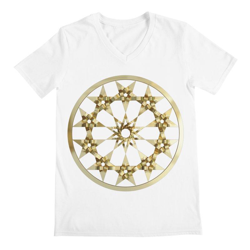 12 Woven 5 Pointed Stars Gold Men's V-Neck by diamondheart's Artist Shop