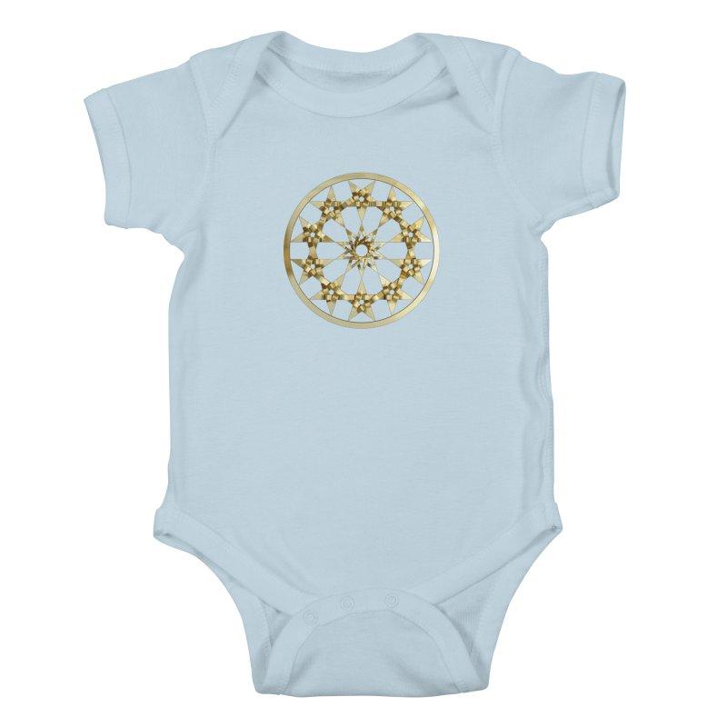 12 Woven 5 Pointed Stars Gold Kids Baby Bodysuit by diamondheart's Artist Shop