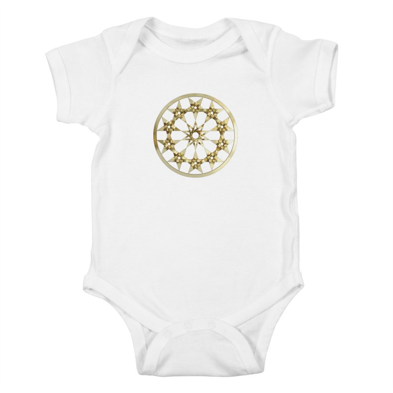 12 Woven 5 Pointed Stars Gold Kids Baby Bodysuit by diamondheart's Artist Shop