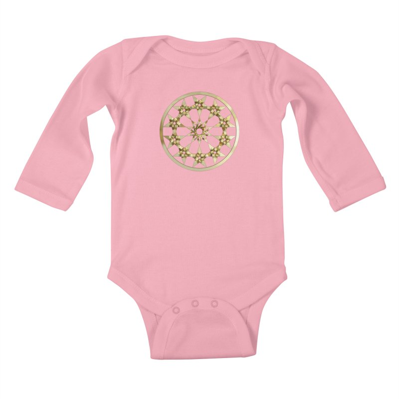 12 Woven 5 Pointed Stars Gold Kids Baby Longsleeve Bodysuit by diamondheart's Artist Shop