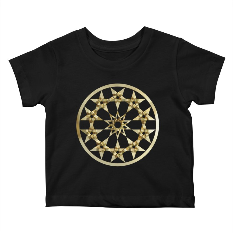 12 Woven 5 Pointed Stars Gold Kids Baby T-Shirt by diamondheart's Artist Shop