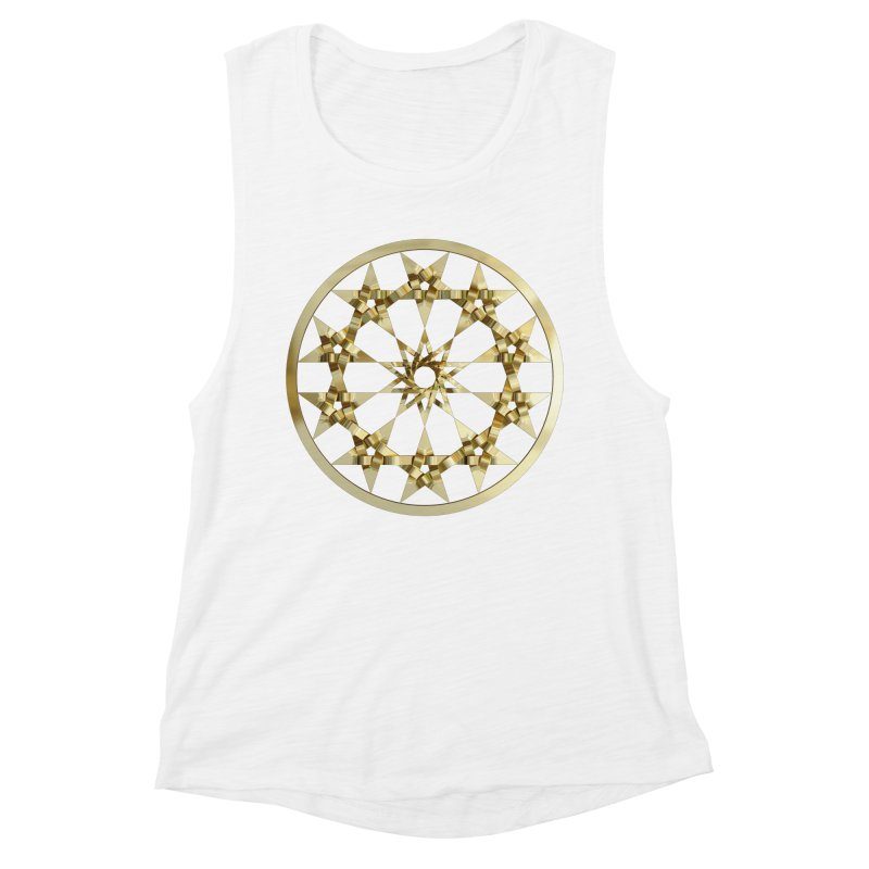 12 Woven 5 Pointed Stars Gold Women's Muscle Tank by diamondheart's Artist Shop