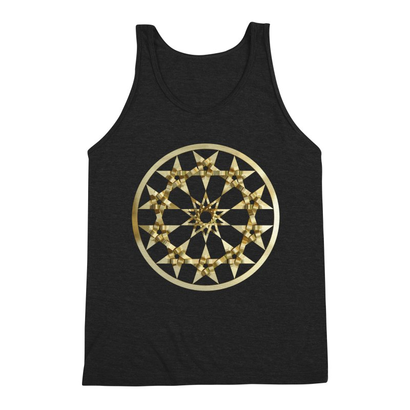 12 Woven 5 Pointed Stars Gold Men's Triblend Tank by diamondheart's Artist Shop