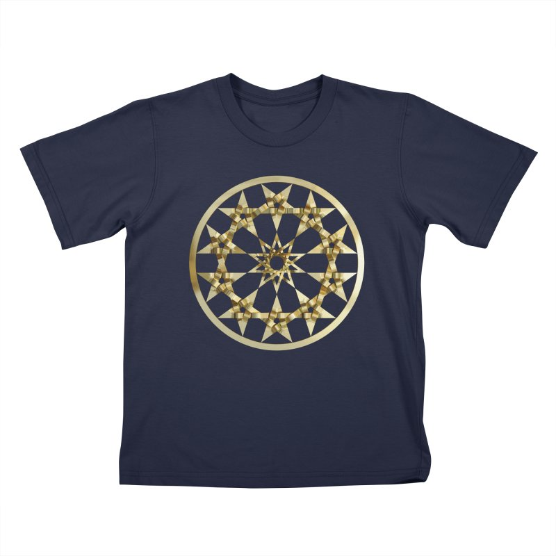 12 Woven 5 Pointed Stars Gold Kids T-Shirt by diamondheart's Artist Shop
