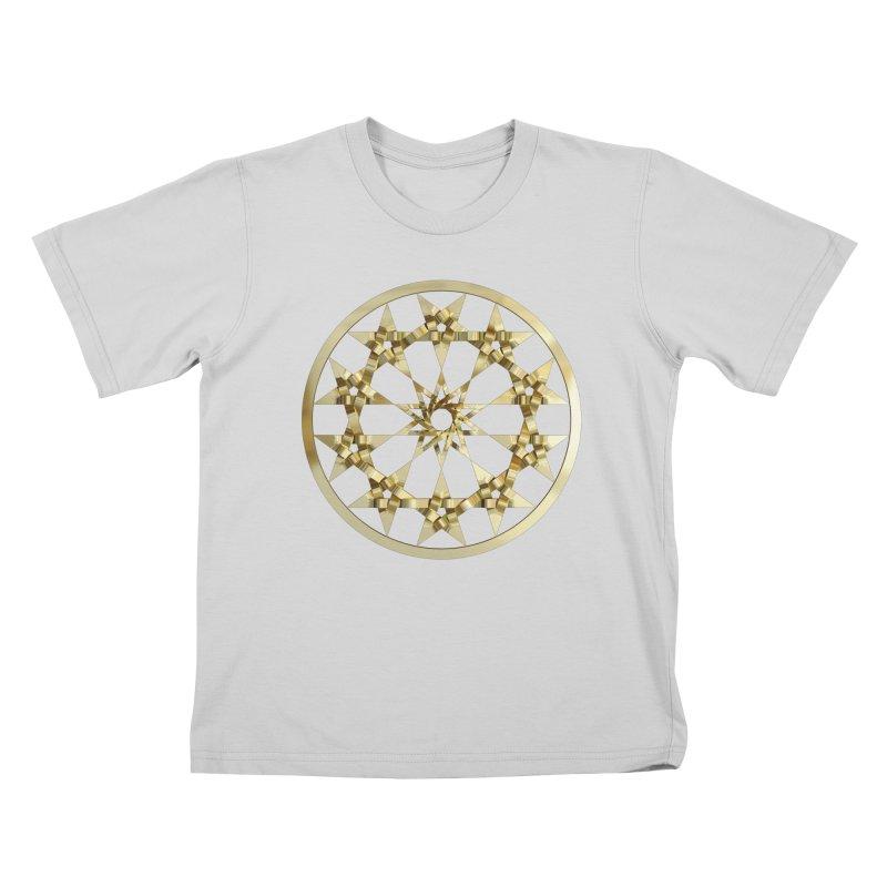 12 Woven 5 Pointed Stars Gold Kids T-Shirt by diamondheart's Artist Shop