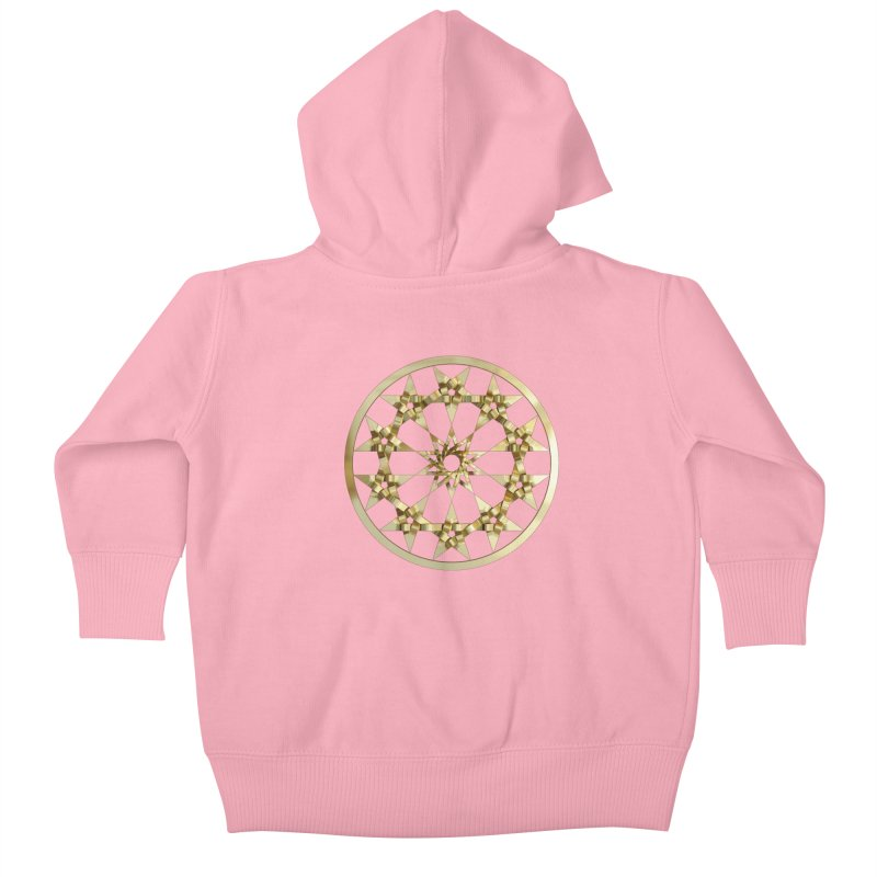 12 Woven 5 Pointed Stars Gold Kids Baby Zip-Up Hoody by diamondheart's Artist Shop