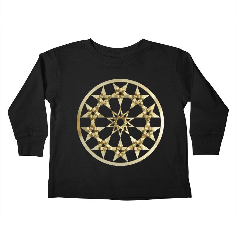 12 Woven 5 Pointed Stars Gold Kids Toddler Longsleeve T-Shirt by diamondheart's Artist Shop