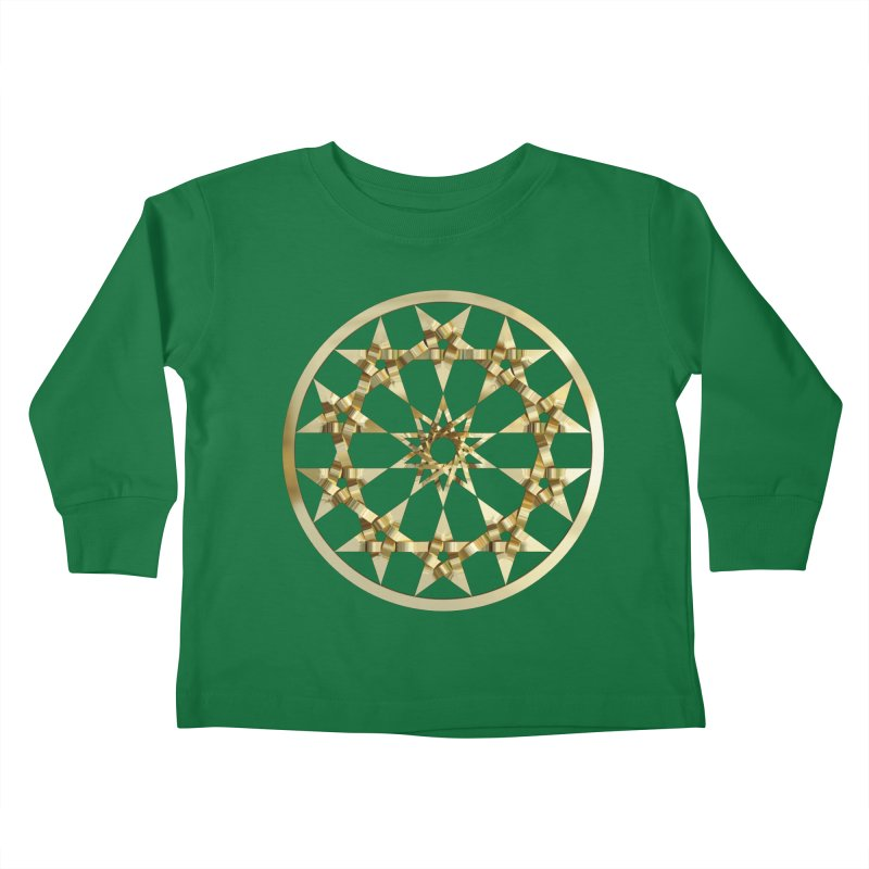 12 Woven 5 Pointed Stars Gold Kids Toddler Longsleeve T-Shirt by diamondheart's Artist Shop