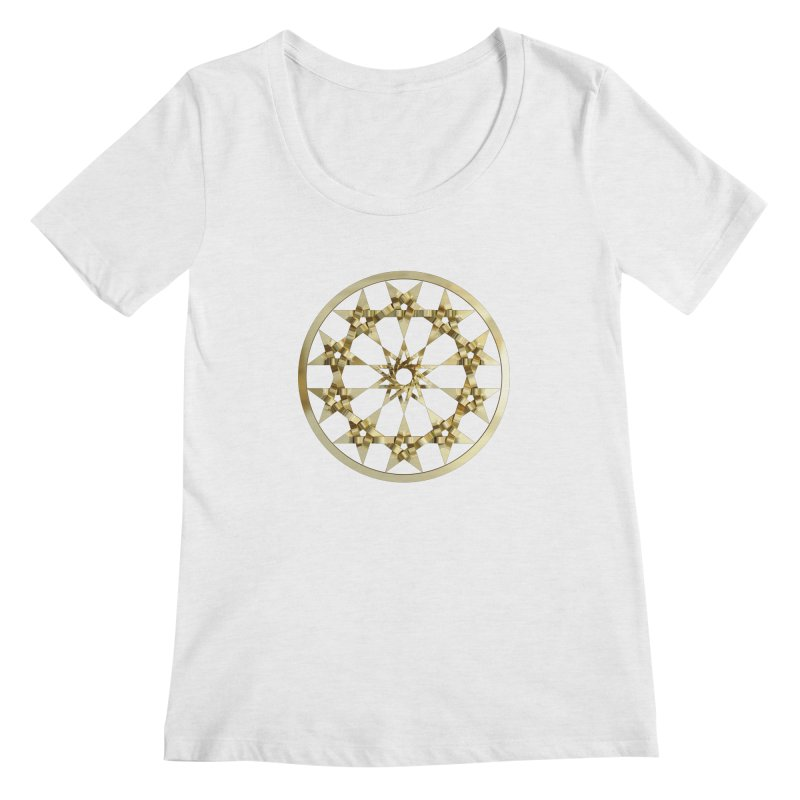 12 Woven 5 Pointed Stars Gold Women's Scoop Neck by diamondheart's Artist Shop