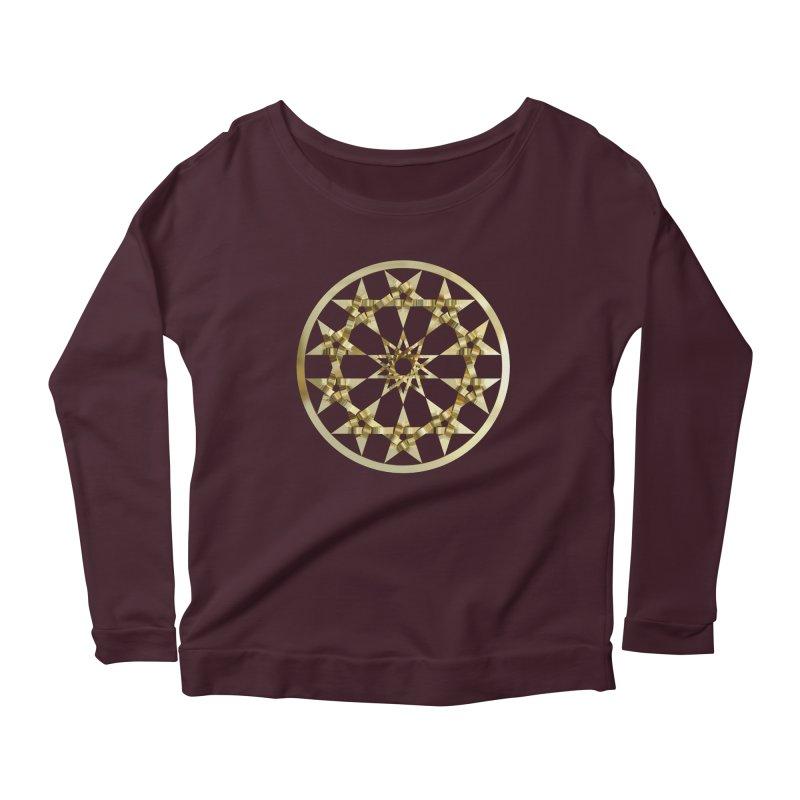 12 Woven 5 Pointed Stars Gold Women's Scoop Neck Longsleeve T-Shirt by diamondheart's Artist Shop