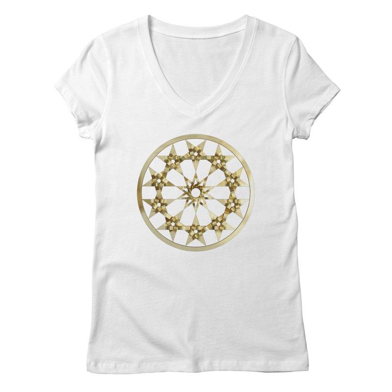 12 Woven 5 Pointed Stars Gold Women's Regular V-Neck by diamondheart's Artist Shop