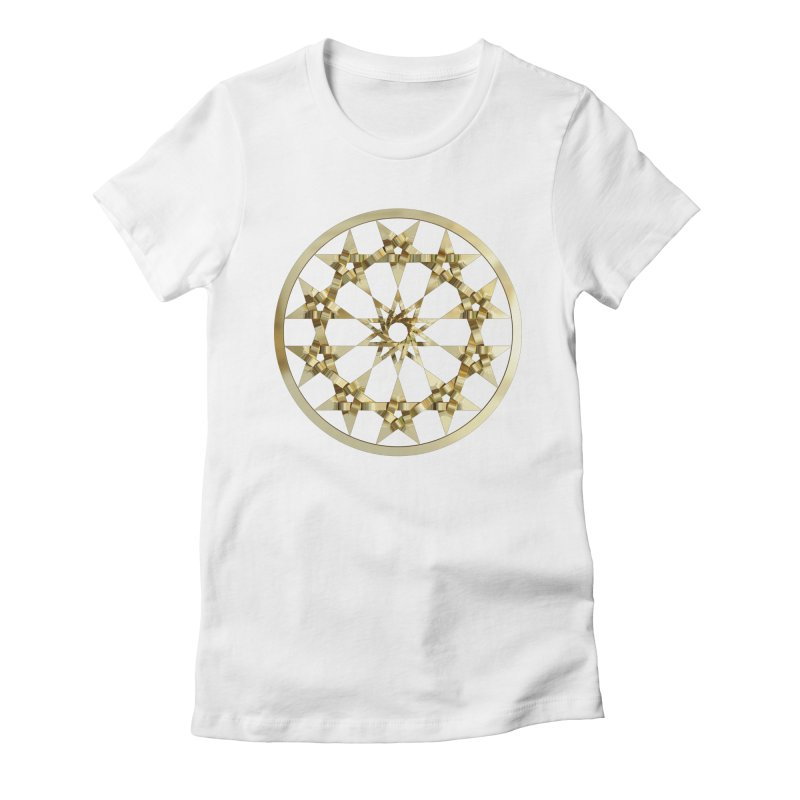 12 Woven 5 Pointed Stars Gold Women's Fitted T-Shirt by diamondheart's Artist Shop