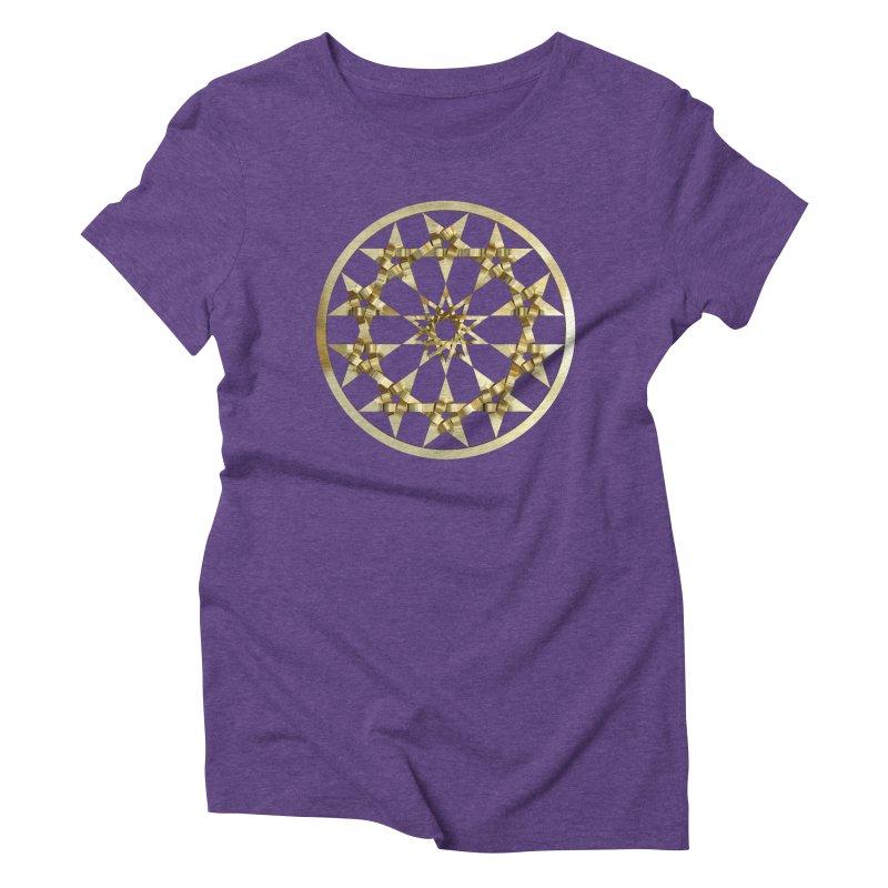 12 Woven 5 Pointed Stars Gold Women's Triblend T-Shirt by diamondheart's Artist Shop