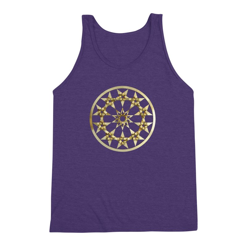 12 Woven 5 Pointed Stars Gold Men's Triblend Tank by diamondheart's Artist Shop