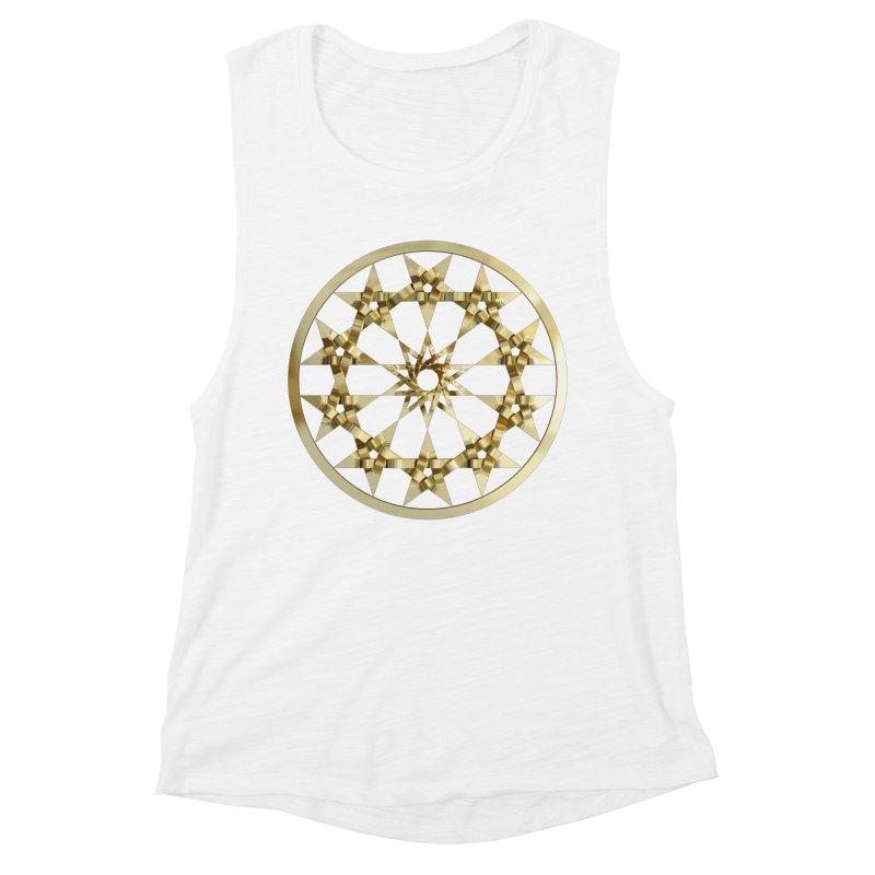 12 Woven 5 Pointed Stars Gold Women's Muscle Tank by diamondheart's Artist Shop