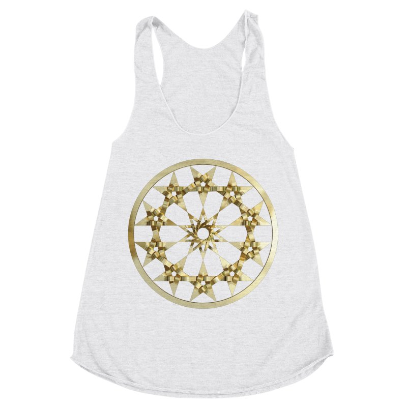 12 Woven 5 Pointed Stars Gold Women's Racerback Triblend Tank by diamondheart's Artist Shop